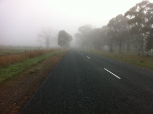 On my cool down lap, fog starting to get better!