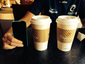 """With Alex we bought these """"small"""" coffee's"""