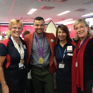 Guy Sebastian and staff from MS