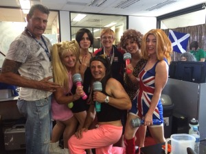Spice Girls Trading team with some random guy on the left!