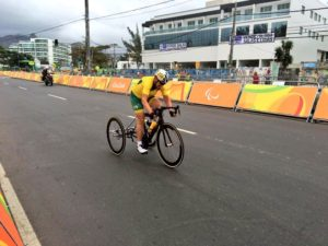 Just before the finish line of the Road Race